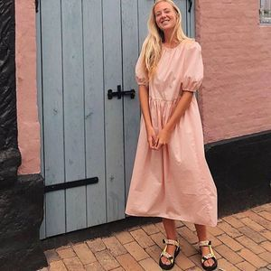 Calf-length Dress Dusty Pink Cotton M NWT Wide Cut